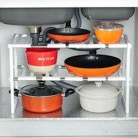 2 Tier Multi Functional Under Sink Expandable Shelf Storage Organizer Adjustable Stainless Steel Kitchen Sink Rack Home Shelf
