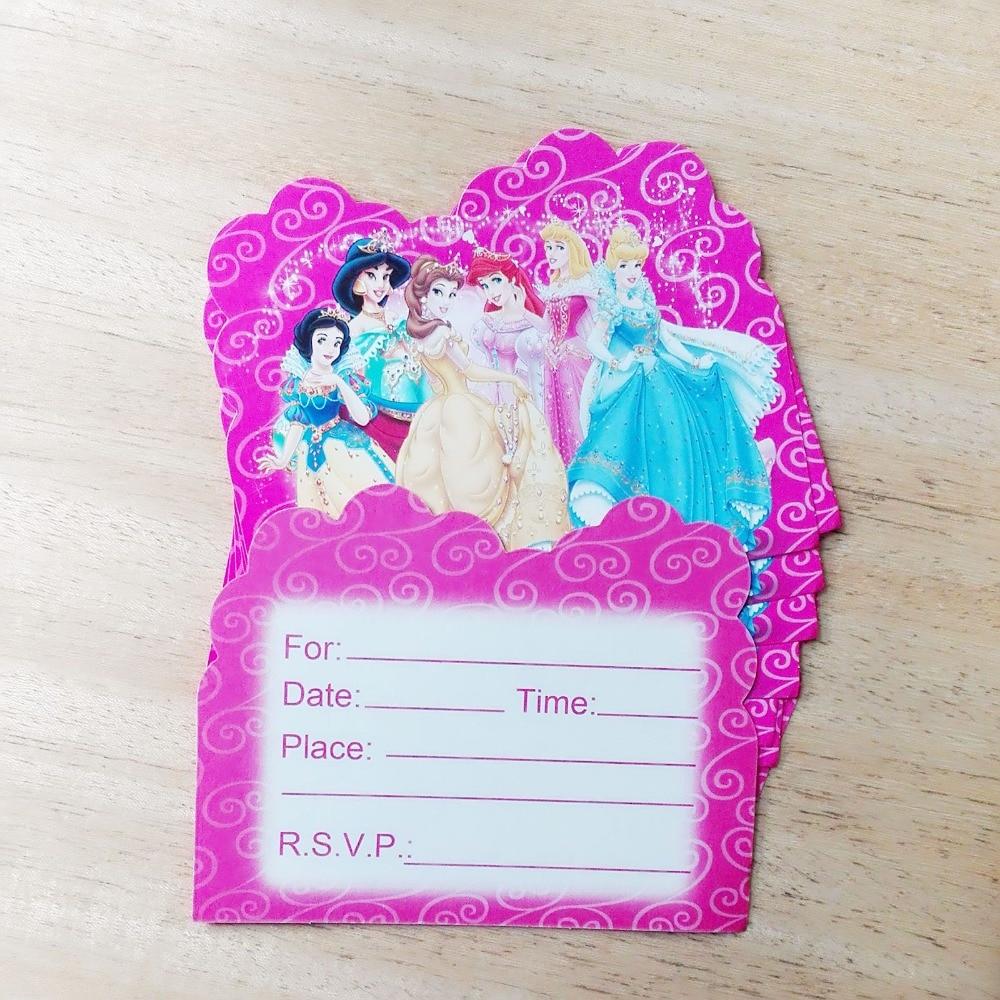 10pcs Funny Girl Three Princess Birthday Party Invitation Card