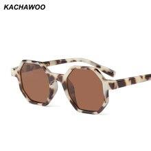 28335b0590 Kachawoo al por mayor 6 piezas octagon gafas de sol mujer vintage leopardo  pequeño negro gafas de sol para hombres verano playa .