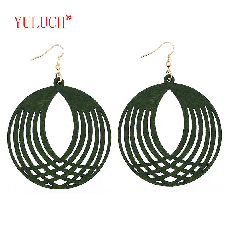 YULUCH African Natural Handmade Wooden Round Openwork Pineapple Pendant for Personalized Fashion Women Jewelry Earrings Gift