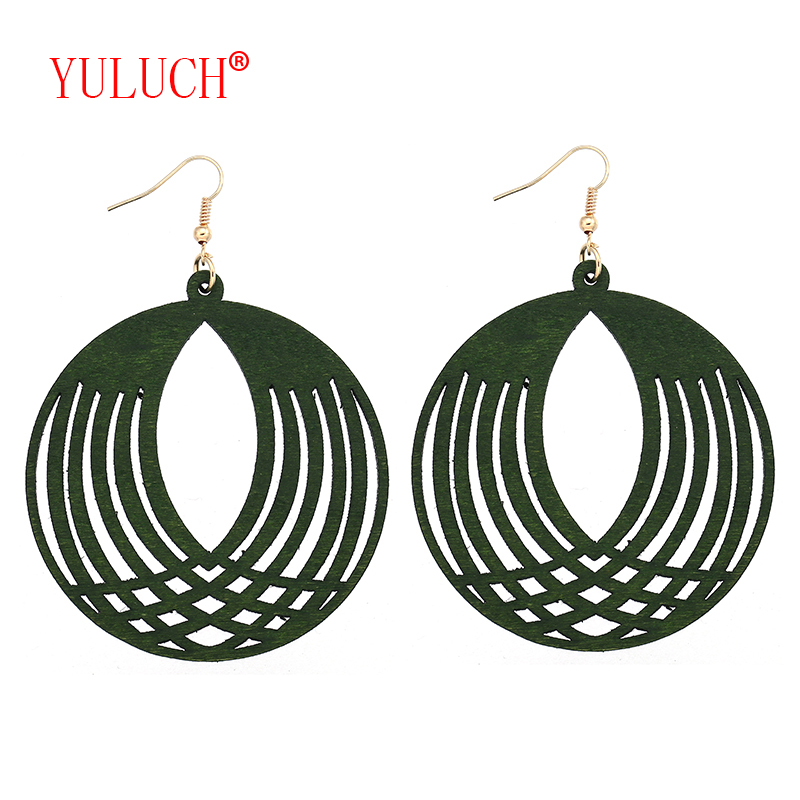 YULUCH African Natural Handmade Wooden Round Openwork Pineapple Pendant for Fashion Women Jewelry Earrings Gift