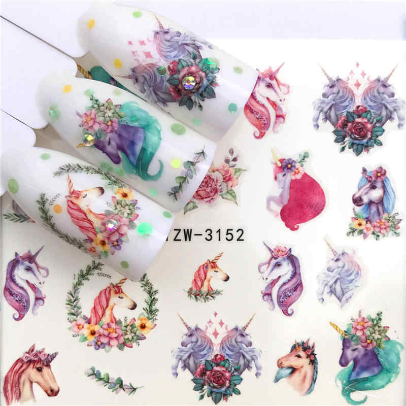 WUF 1 Sheet  Deer/Horse Flower Water Transfer Nail Sticker Decals Beauty Decoration Designs DIY Color Tattoo Tip