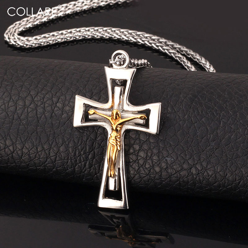 Crucifix Cross Necklace 316L Stainless Steel Trendy 18K Real Gold Plated Cross Pendant  Necklace Men Jewelry Wholesale IGP875 crucifixo pingente de ouro masculino