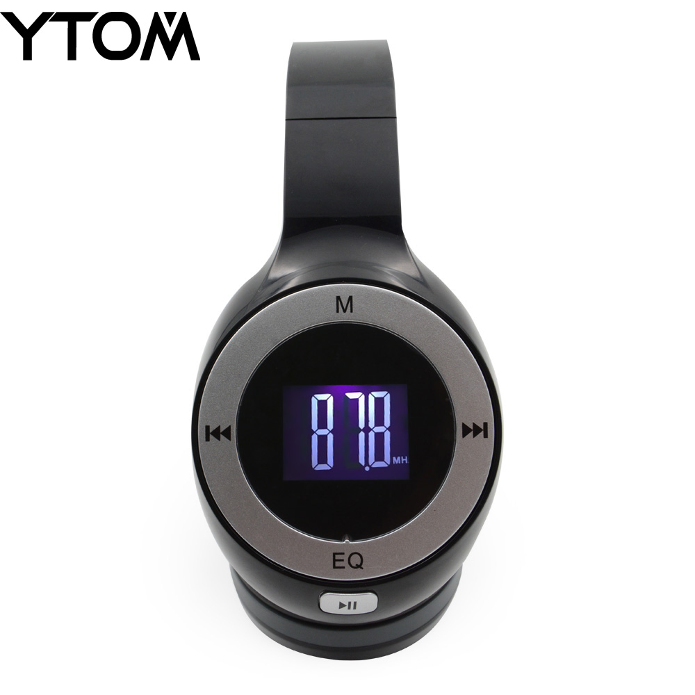 YTOM Foldable Bluetooth Headset LCD Display Stereo Handsfree Casque Audio Earphone Cordless Wireless Headphone support FM TF 3.5