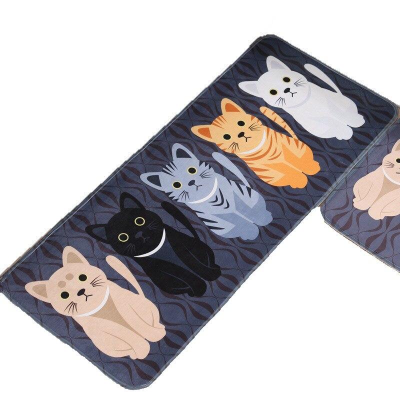 Tapete antideslizante para sala de estar tapetes de suelo de gato tapetes de cocina con estampado de gato felpudo Kawaii