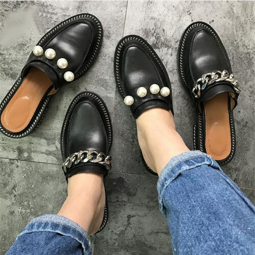 2017 Leather Chain Slipper Women Pearl Rivet Metal Chain Flat Slipper Woman Casual Shoes Summer in Slippers from Shoes