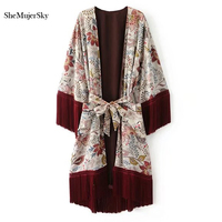 SheMujerSky Women Kimono Cardigan Long Tassel Tops Beach Kimono Floral Blouse Sashes Femme Camisa