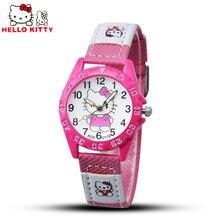 2016 Hello Kitty Watches Gril Lovely Cartoon Watch Kids Watches Children Cute Leather Quartz Watch Baby Gift Hour montre enfant
