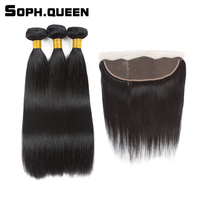 Soph Queen Brazilian Straight Wave 3 Bundles With Closure Non Remy Human Hair Natural Black Bundles