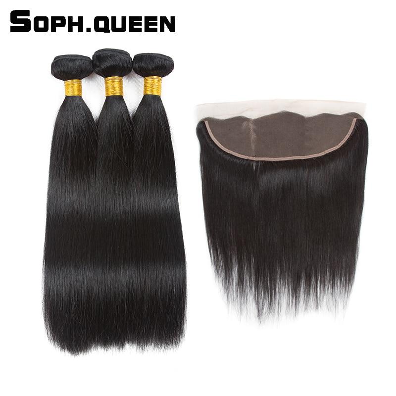 Soph drottning brasilianska Straight Wave 3-buntar med Closure Remy - Mänskligt hår (svart)