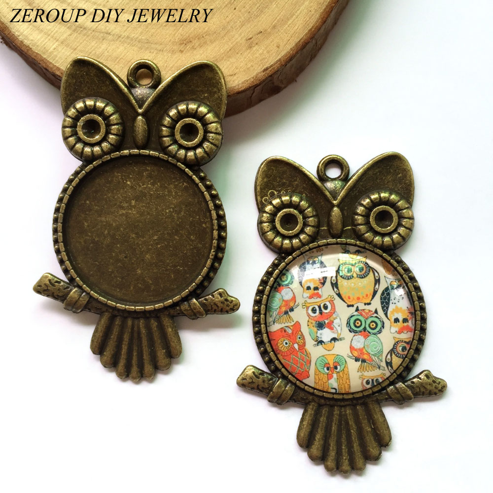 ZEROUP 5pcs/lot DIY Flat Back Jewelry Finding fit 25mm Round Glass Cabochon Antique Bronze Owl Shape Pendant Tray MC-141