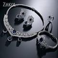 ZAKOL Trendy Blue Water Drop & Oval CZ Diamante Luxuoso Colar/Brincos/Pulseira/Anéis Set Branco Banhado A ouro para o Partido FSSP243