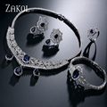 ZAKOL Trendy Blue Water Drop & Oval CZ Diamond Luxurious Necklace/ Earrings/ Bracelet/ Rings Set White Plated For Party FSSP243