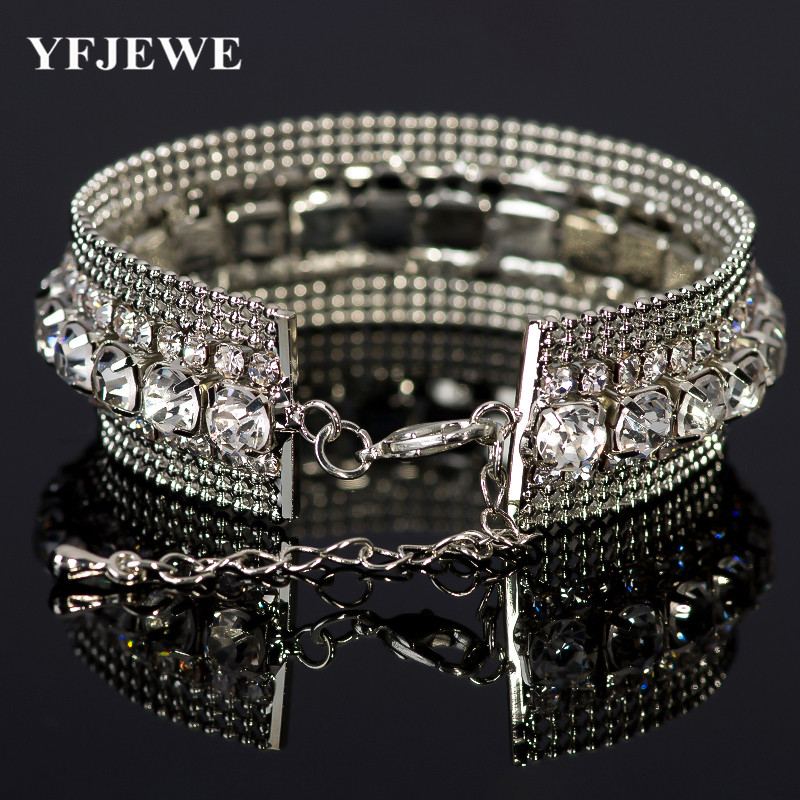 2017 Luxury Crystal Bangles For Women Silver Bracelets & Bangles Femme Bridal Wedding Jewelry  Bangles