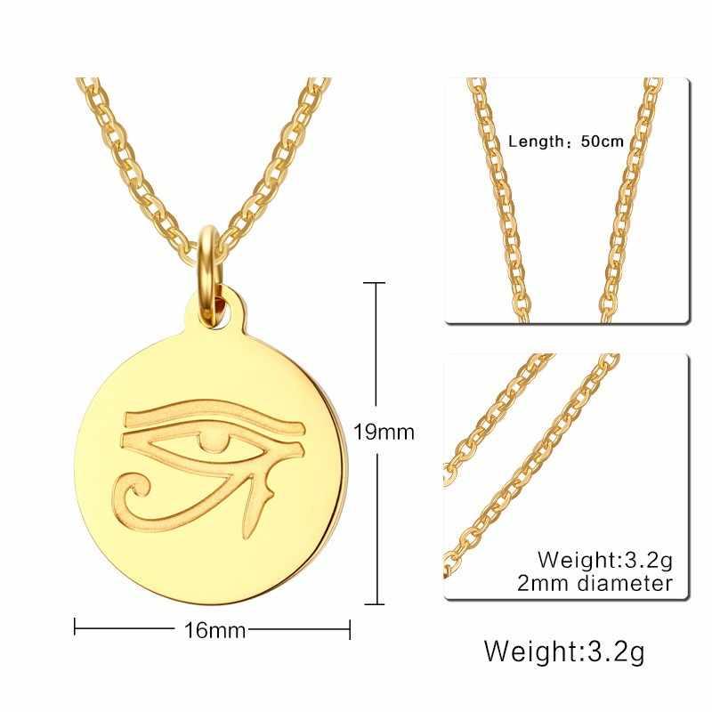 Mprainbow Nữ Màu Vàng Ai Cập Cổ Đại Mắt Của Horus Mặt Dây Chuyền Vòng Cổ Trang Sức Inox 20 Xích