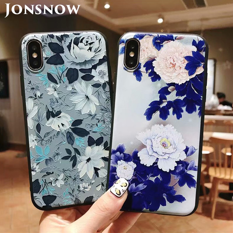 KIPX1051_1_JONSNOW 3D Emboss Flowers Soft Case for iPhone XS XR Cases for iPhone 6S 7P 8 Plus XS Max Phone Cover