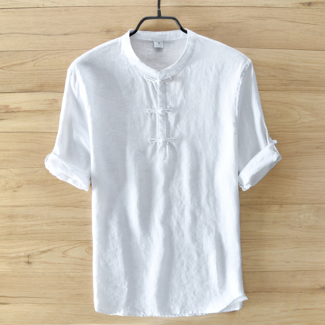 6365c241 White pure linen shirt men short sleeve summer men shirts Chinese style  brand shirts men business casual mens shirt camisa 3XL