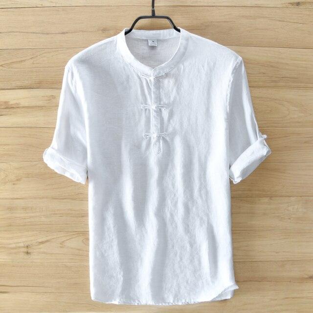 Wit Linnen Overhemd Korte Mouw.Wit Zuiver Linnen Shirt Mannen Korte Mouw Zomer Mannen Shirts