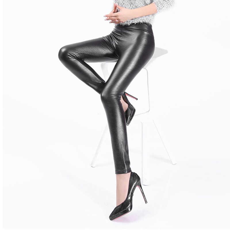 Kaminsky Winter Leggings voor Vrouwen Fashion Faux Lederen Leggings Vrouwen Broek Warm vrouwen Broek Warm Solid Leggings