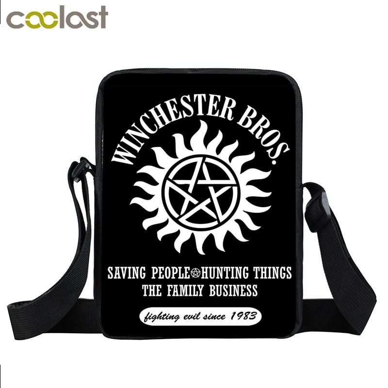 Supernatural Mini Messenger Bag Winchester Bros Sam Dean Cross Bag Boys Girls School Bags Bookbag Children Bags Kids Best Gift