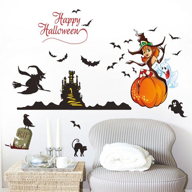 4 48 Heureux Halloween Magasin Home Décor Sorcière Fantôme Citrouille Castel Chauve Souris Stickers Muraux Sticker Mural Art Affiche Décoration De