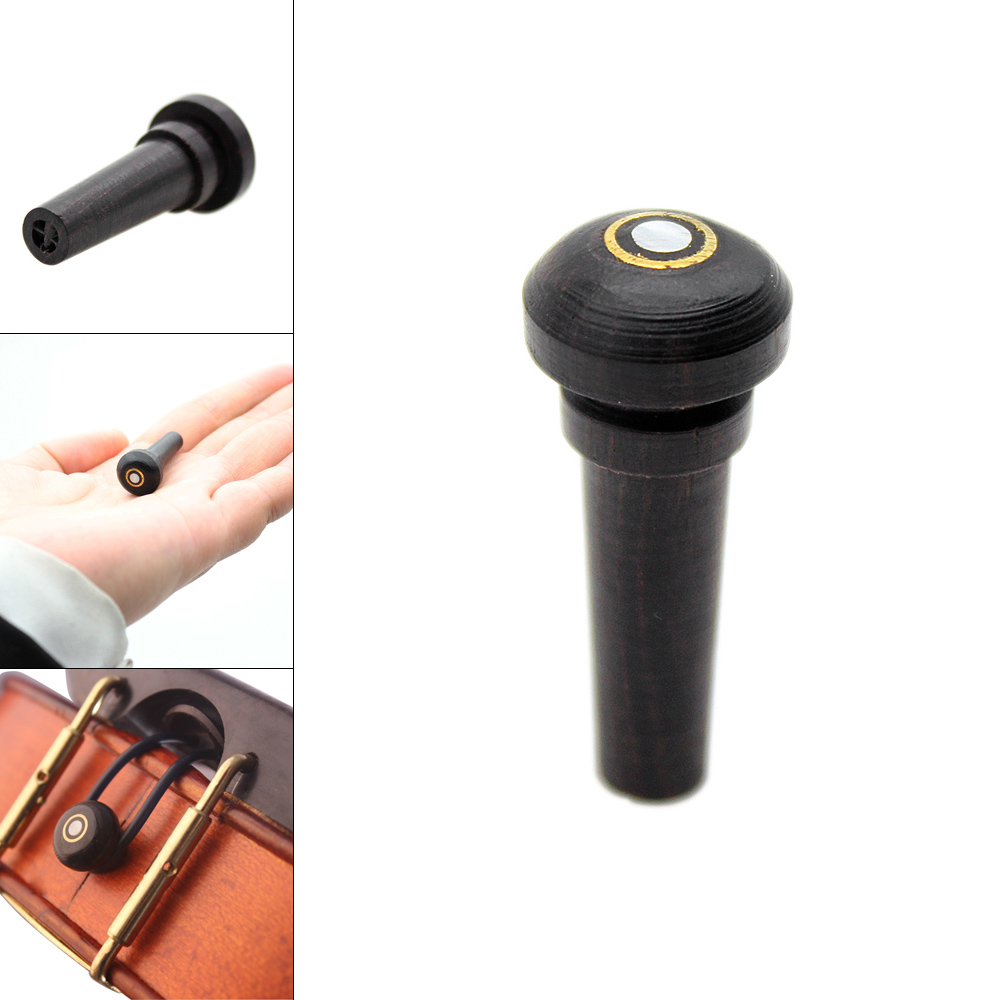 3/4 4/4 Black Universal Ebony Violin Endpin Inlay Shell Wooden Violin Parts & Accessories