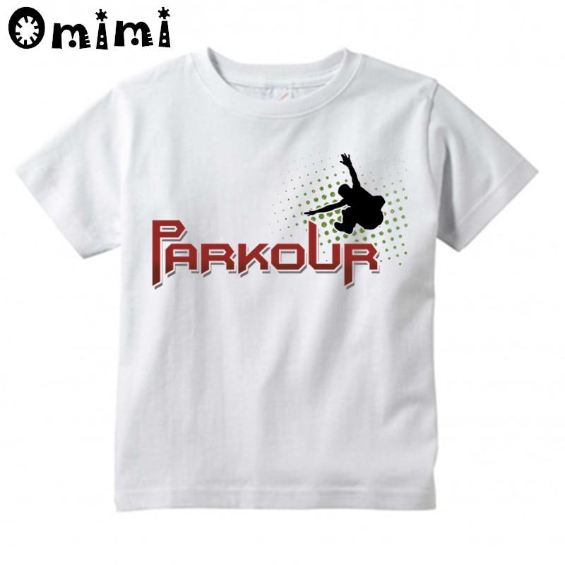 Boys/Girls Evolution Of Parkour Born To Jump Printed T Shirt Kids Short Sleeve Tops Children's White T-Shirt,HKP4085 cute scoop neck short sleeve zebra printed t shirt for women