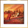 Ручная роспись масляной живописи пейзаж пастырской пейзаж красный деревенский пейзаж Сельский крыльцо gules диван-зал без рамок