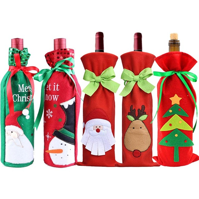 hoomall christmas tree wine bottle cover bags diy xmas gifts for children christmas kitchen dinner table