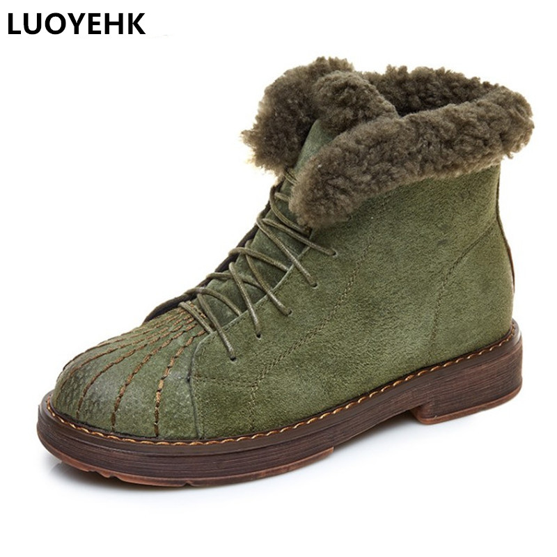 LUOYEHK New Winter Boots Women Shoes With Fur Warm Snow Boots Women Casual Shoes Woman Winter Platform Flat Boots For Women цены онлайн