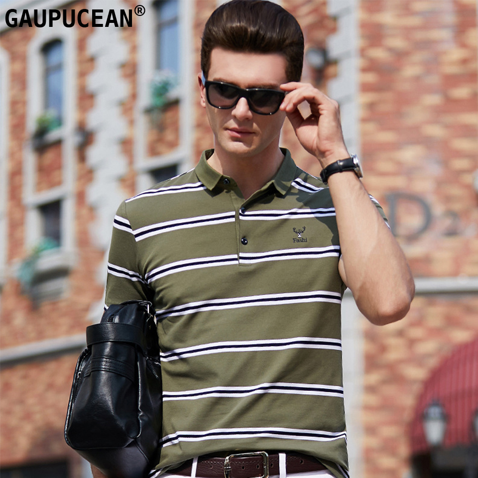 95% Cotton 5% Spandex   Polo   Shirt Men Short Sleeve Breathable Male Green Orange Blue Quality Fashion Stripe Man   Polo  -shirt