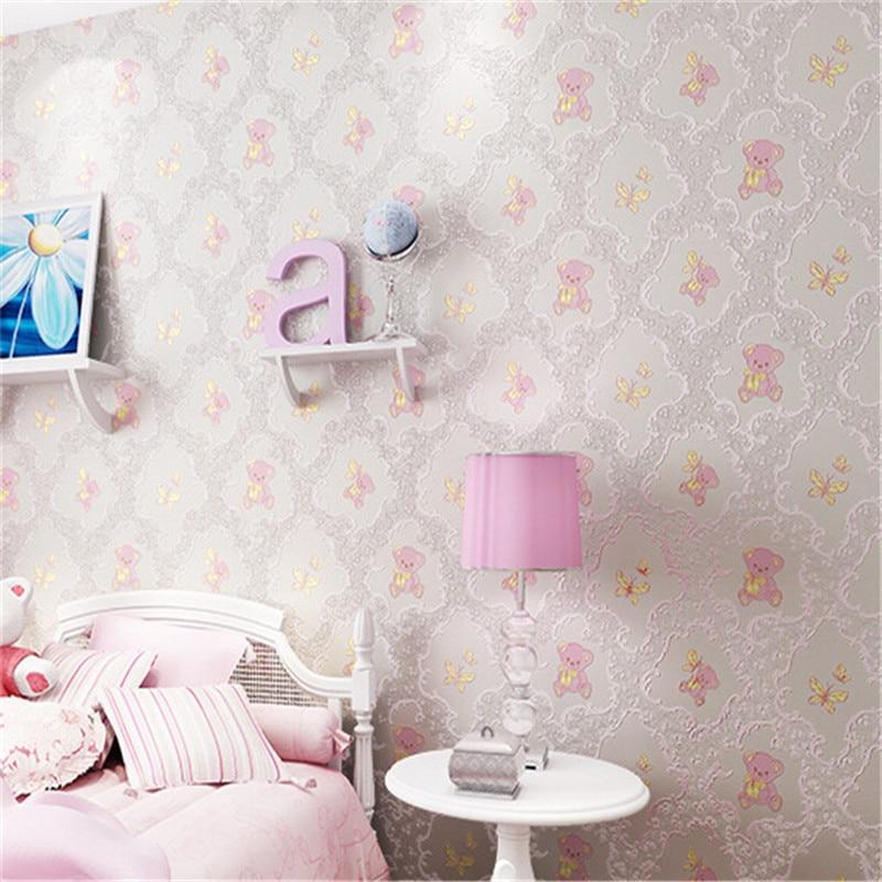 3D Wallpaper Cute Cartoon Girls Room Wallpaper Roll For