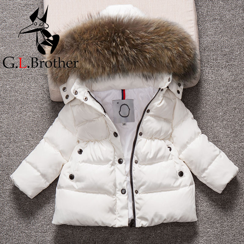 0-8Y Kids Snowsuit Hooded Boys Winter Coat Snow Wear Down Cotton Thermal Toddler Girls Outwear Coat Down Parkas Fur Collar Z151