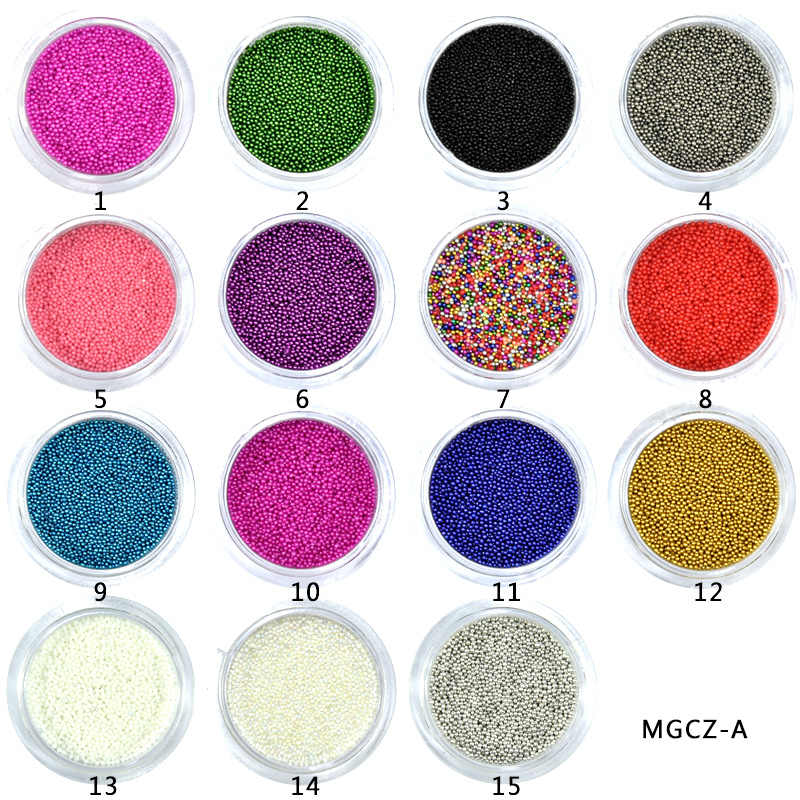 1 תיבת 0.6-0.8-1 MM קוויאר אמנות חרוז ריינסטון לציפורניים מיקרו נאי קריסטל כדור 3D נייל אמנות קישוטי 15 צבעים בחירה