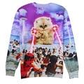 2017 новая мода мужчины/женская единорог кошка балахон зима/осень 3d galaxy кофты одежда harajuku животных толстовка