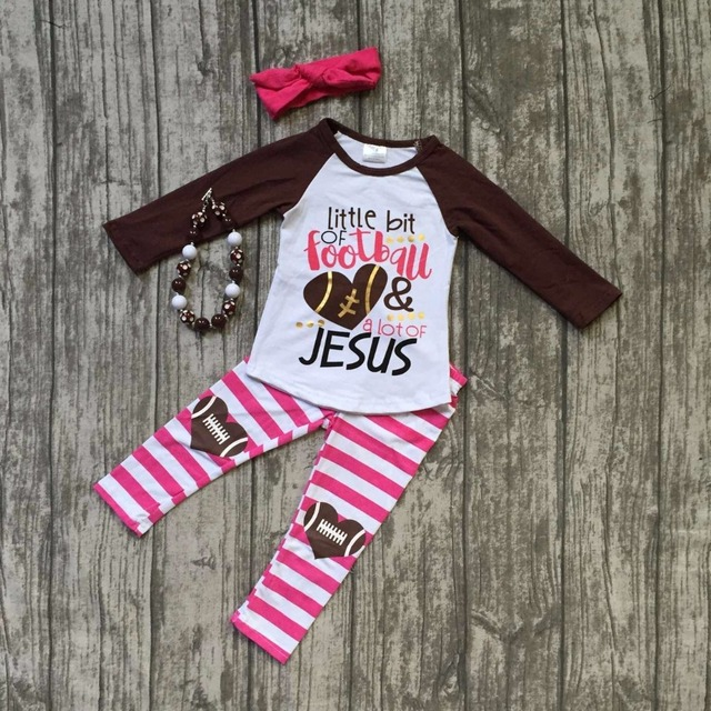 Fall suit baby girls ruffles boutique stripe children pants long sleeves  little bit of football   lot of Jesus match accessory 89693bc15