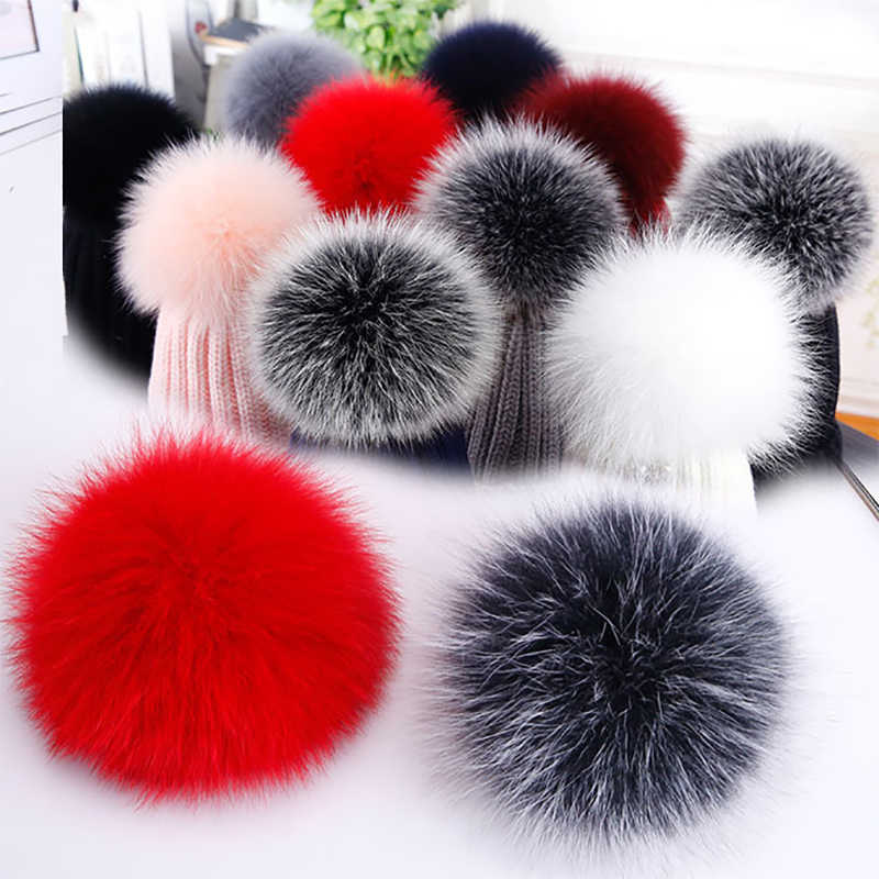 100% Real Fox Fur Pompon DIY Natural Fur Pom Poms Ball for Hats Cap Skullies Fur Pompom Ball For Shoes Bags Accessories 12-14cm