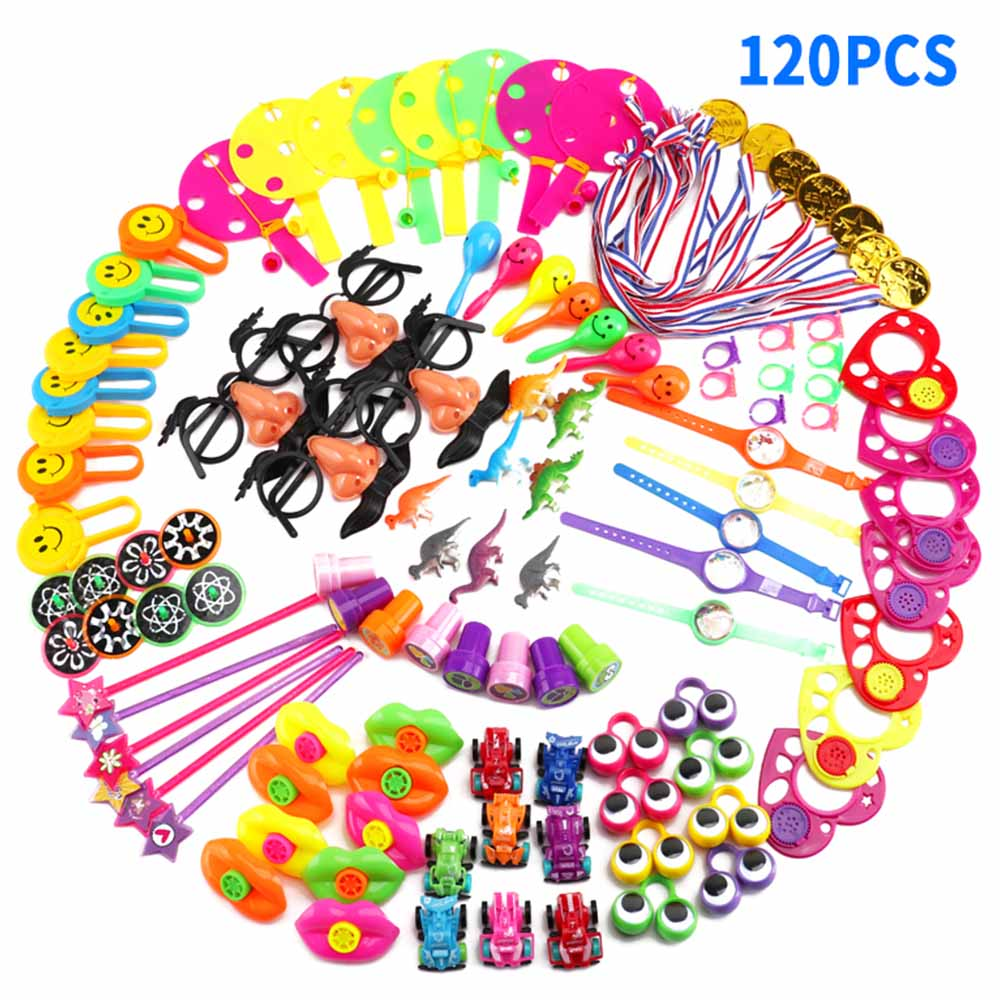 120pcs/ Set Kids Birthday Party Favors Filler Assorted Gift Bulk Toys Set Treasure Box Prizes Pretend Play Groceries Toys