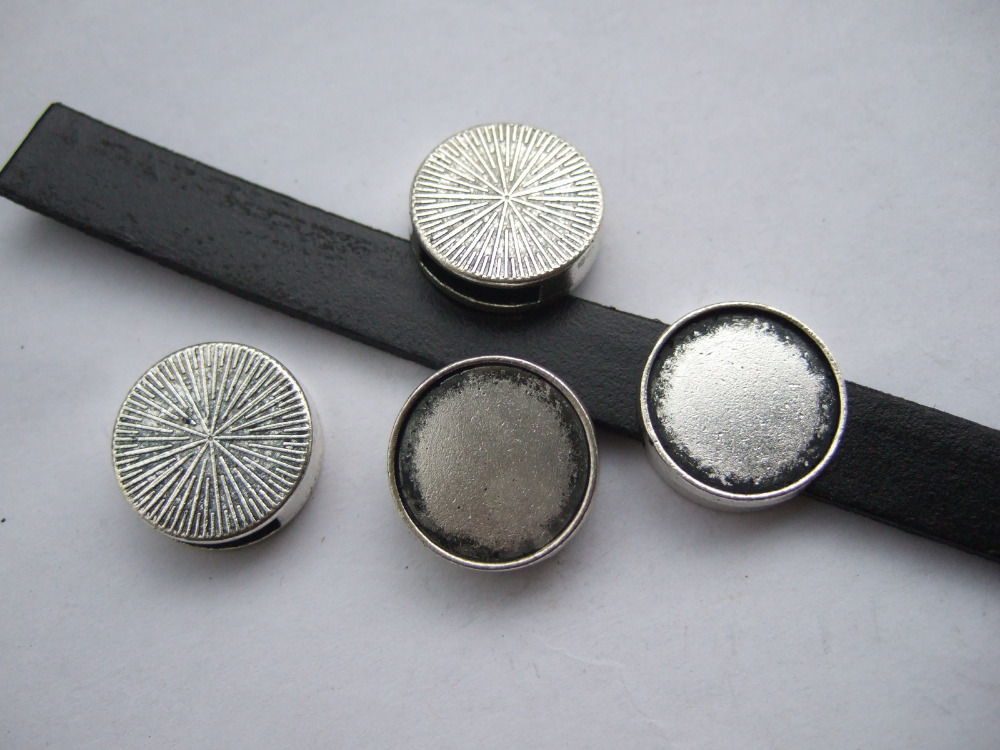 10Pcs Antique Silver 17.5mm Ring Tray Beads Slide Spacer 11*2.5MM Hole For Flat Leather Necklace bracelet Jewellry DIY