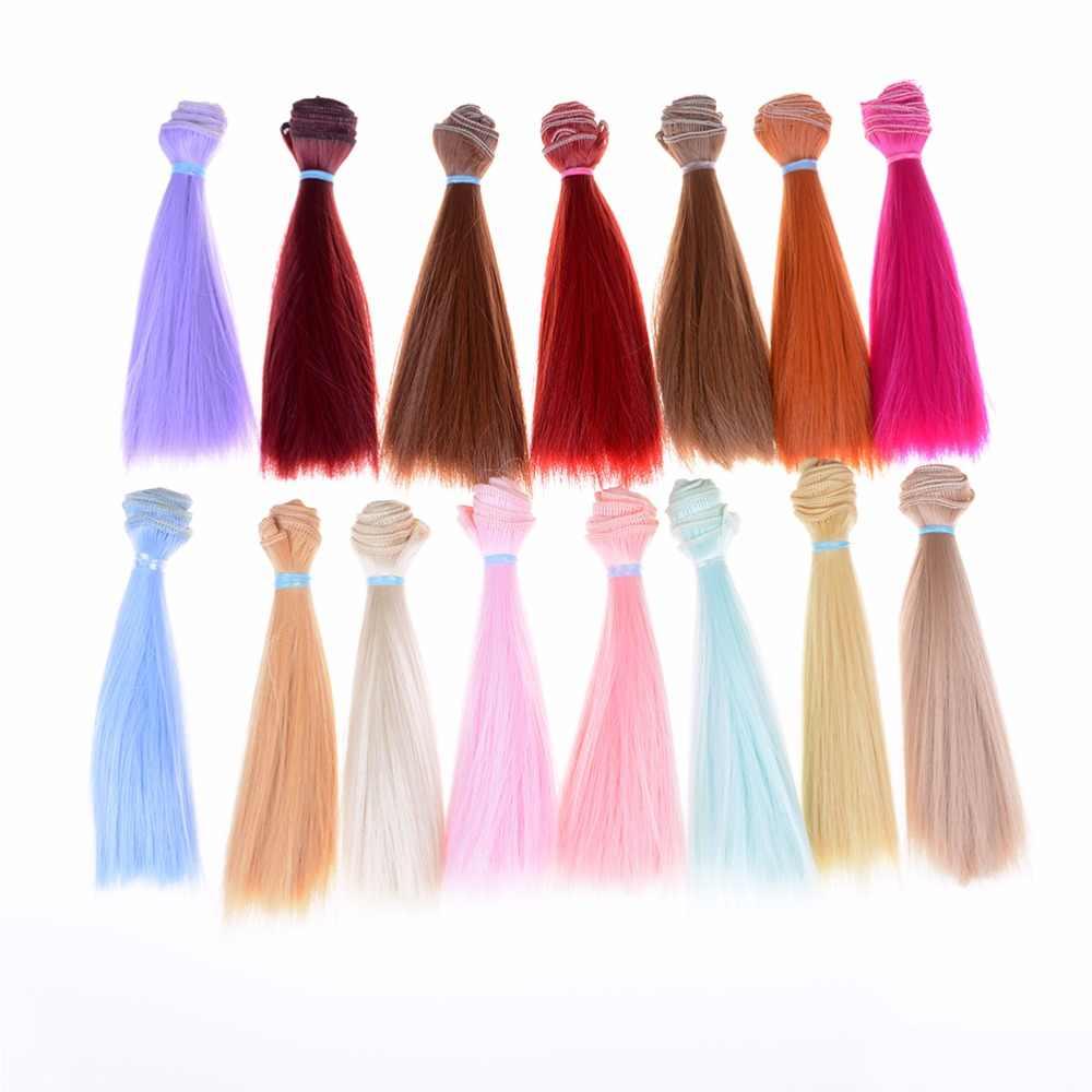 Multi-cores 15 cm longo boneca cabelo de alta temperatura material cor natural grosso bjd perucas de cabelo reto acessórios da boneca mais novo
