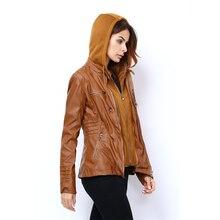 Базовое пальто из искусственной кожи на молнии, шапка, сезон осень-зима, женская одежда Casaco Feminino, верхняя одежда в стиле панк, мотоциклетная куртка