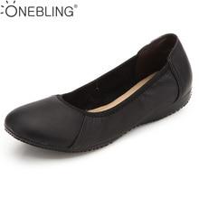 Women Single Shoes Woman Genuine Leather Flat Work Shoes Woman Casual Loafers 2017 Fashion Black Women Flats