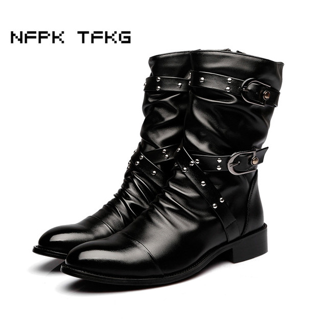 Mode de peau de vache en cuir véritable Bottes Uniforme militaire Rivet Punk Martin Gothique Plateforme Bottes mi-mollet Chaussures apxOXV