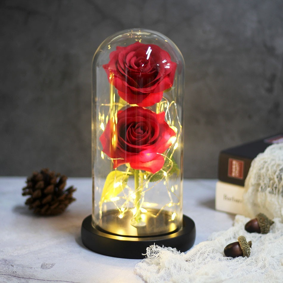Image 5 - Dropping Rose Light Bottle In Jar Desk Night Light Beauty And The Beast Romantic Gift Bedside Wooden Desk Lamp Romantic Valentin-in LED Night Lights from Lights & Lighting