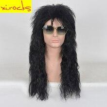 xi.rocks 70s 80s Rocking Dude Чорні синтетичні парики для волосся Панк-металевий Rocker Дискотека для шоколаду Косплей Перуки