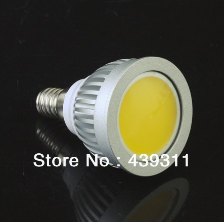2PCS/Lot E14 3W COB LED Spotlight Support Dimmer Warm White3000-3200K/ White6000-6500K High Brightness 300LM Free shipping samsung rs 21 klmr