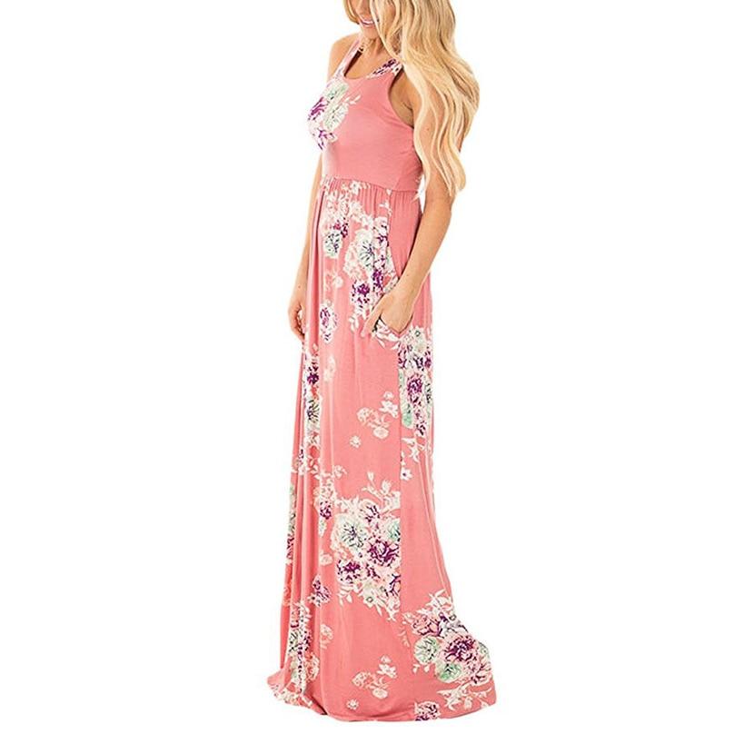 Boho Floral Printed Sundress O-neck Summer Sexy Pleated Maxi Dress 2018 Casual Beachwear Femininos Dress Plus Size LX328 1