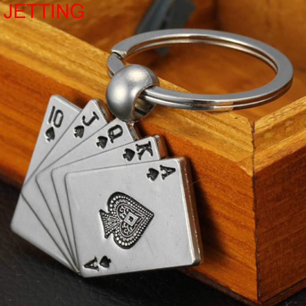 1 PC Male Metal Key Chain Key RingCar Keychain Poker Keychain Personality