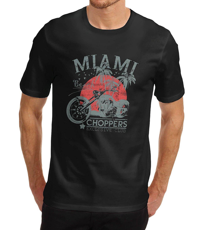 Design your own t-shirt miami - Mens Black Short Sleeve T Shirt Biker Distress Print Miami Beach Choppers T Shirt Summer