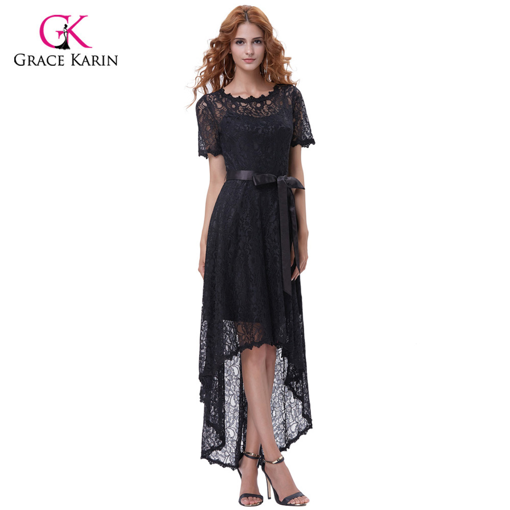 Grace Karin Black High Low Prom Dresses Short Front Long Back Elegant Formal Party Gowns With Sleeves Lace Prom Evening Dresses